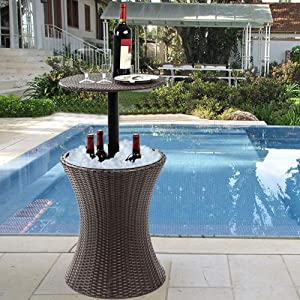 yong Patio Cool Bar Table, Garden Table Ice Beverage Cooler (Ø44cm, 60L Capacity, Outdoor Table, Height Adjustable, Beverage Support Stool, Weatherproof, Black)