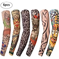 Benbilry 6 Stück Tattoo Ärmel Arm Tattoo Strumpf Unisex Nylon Tattoo Armstrumpf Temporäre Tattoos Arm Tätowierung Armstrümpfe Tattoo Strumpf Arm für Karneval Fasching Party