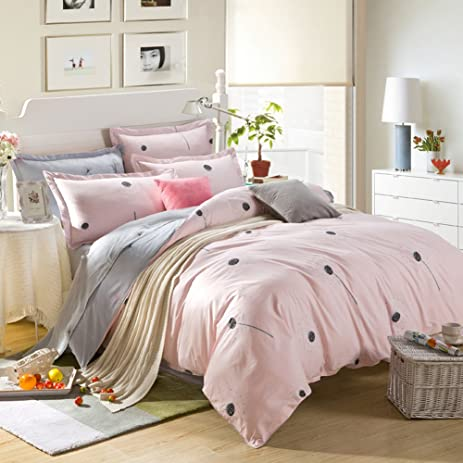 FTSUCQ Dandelion Flying Linen Bed Sheets Quilt Covers Bed Mattress Bedding  Four PCS Sets,