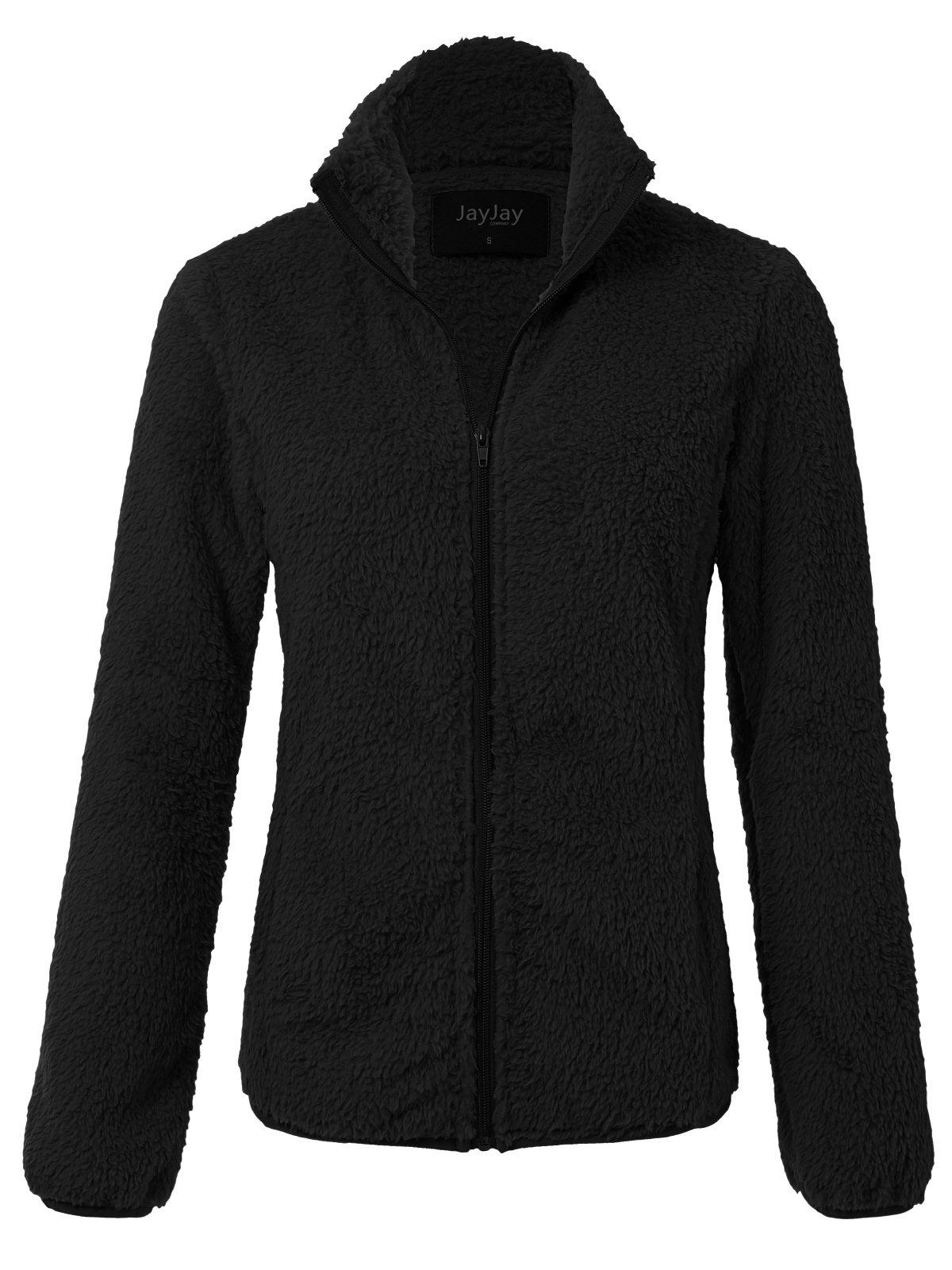 JayJay Women Athlete Ultra Soft Fur Fleece Long Sleeve Jersey Jacket,Black,2XL