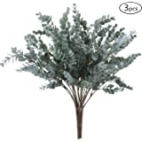 OUTLEE Pack of 3 Artificial Eucalyptus Stem Shrub Faux Eucalyptus Leaves Spray Artificial Greenery Stems Fake Silver…