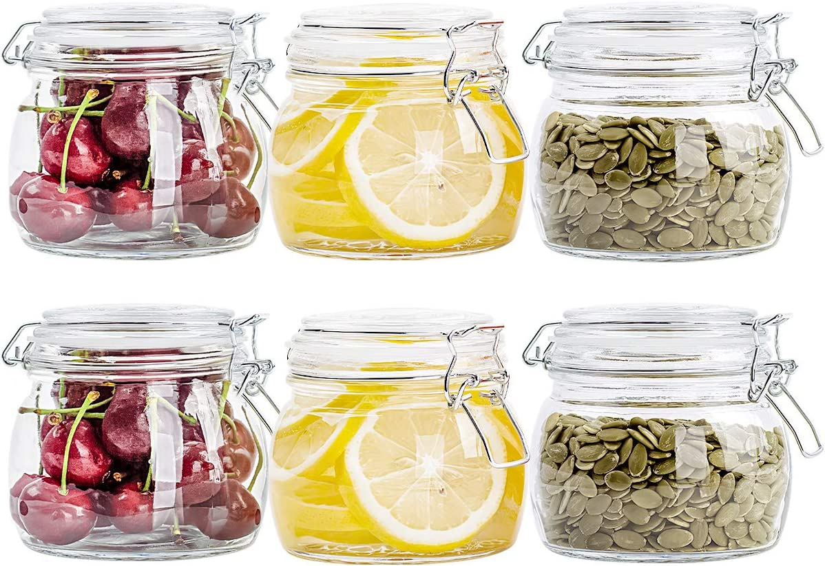 CZUMJJ Airtight Glass Canister Set of 6 with Lids 17oz Food Storage Jar Square - Storage Container with Clear Preserving Seal Wire Clip Fastening for Kitchen Canning Cereal,Pasta,Sugar,Beans,Spice