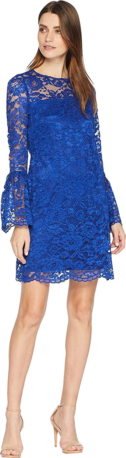 Laundry by Shelli Segal Womens Lace Dress with Bell Sleeves