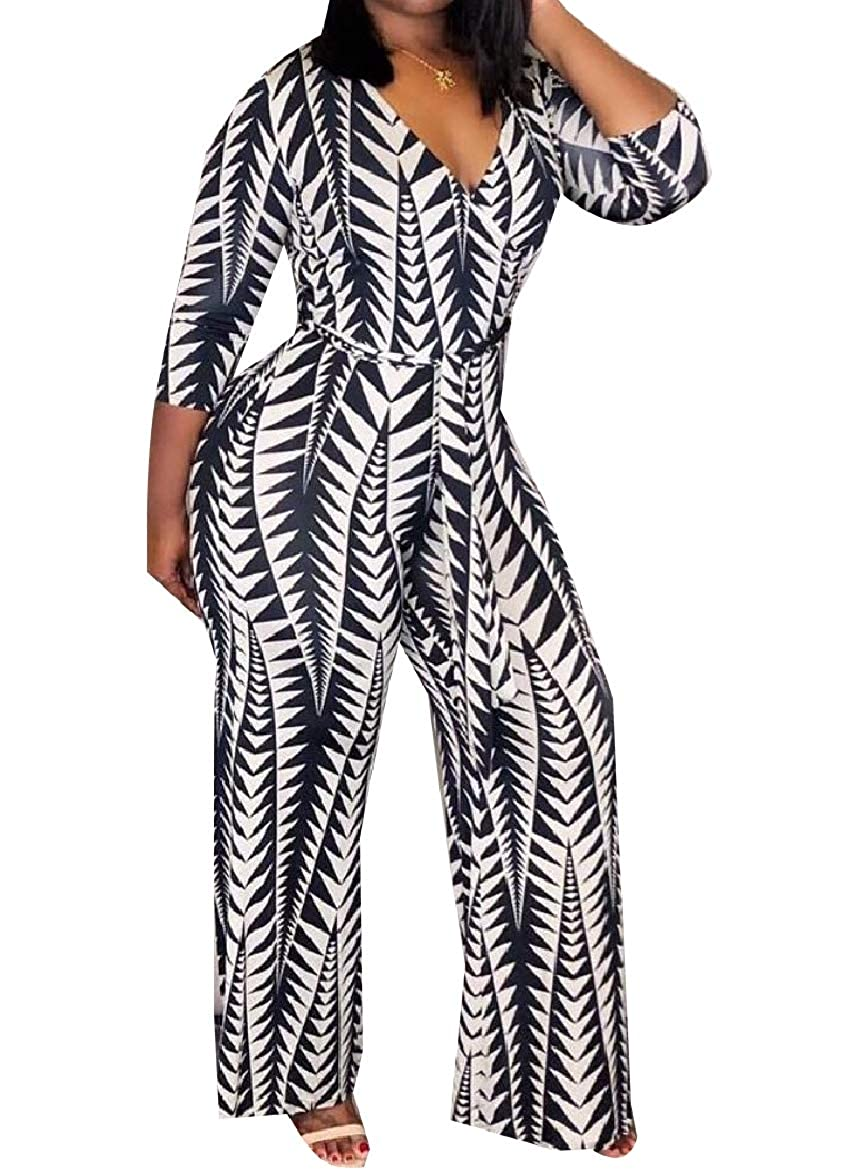 SportsX Women Belt Floral Tribal Fashion Wide Leg V Neck Cozy Jumpsuit