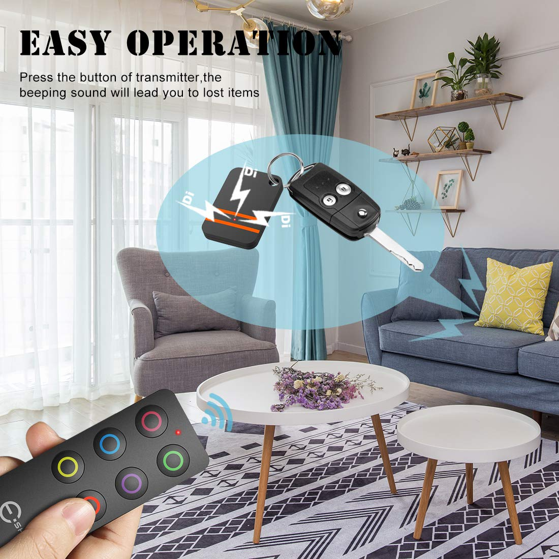 Esky Key Finder Wireless Key RF Locator Wireless RF Item Locator Item Tracker Support Remote Control,1 RF Transmitter and 6 Receivers with Letter Pet Tracker Wallet Tracker