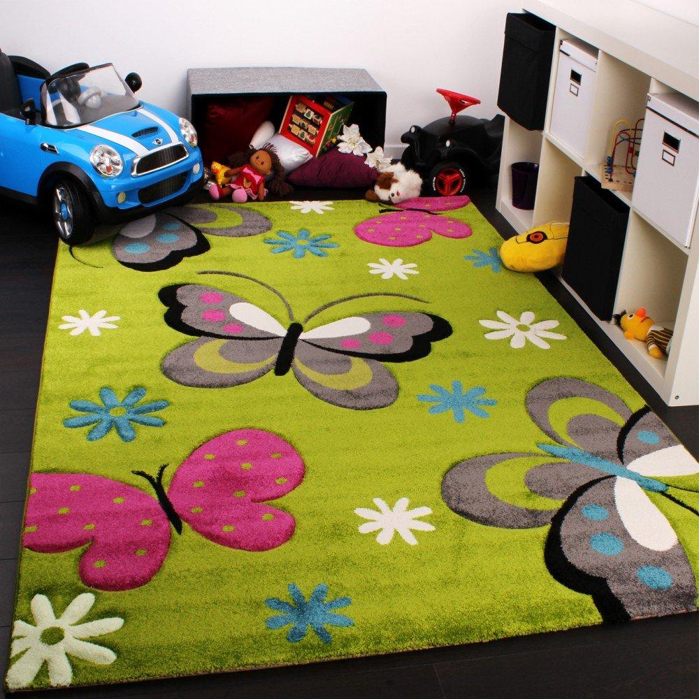 Paco Home Kinder Teppich Schmetterling Design Grün Creme Rot Pink, Grösse:160x230 cm