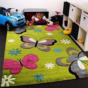 Amazon De Paco Home Kinder Teppich Schmetterling Design Grun Creme