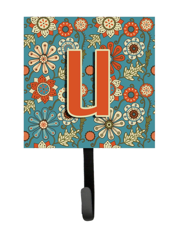 Multicolor Small Carolines Treasures CJ2012-USH4 Letter U Flowers Retro Blue Leash or Key Holder