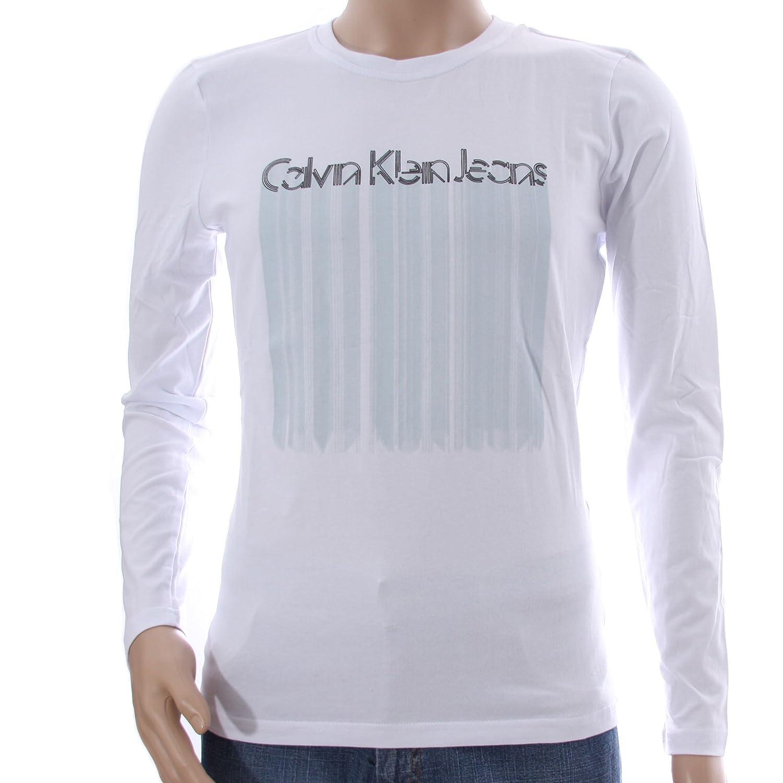 Calvin Klein - Camiseta de Manga Larga - para Hombre Blanco 42 ...