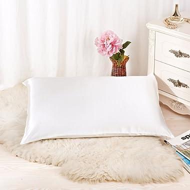 ALASKA BEAR - Natural Silk Pillowcase, Hypoallergenic, 19 momme, 600 thread count 100 percent Mulberry Silk, Queen Size with hidden zipper(Ivory white)