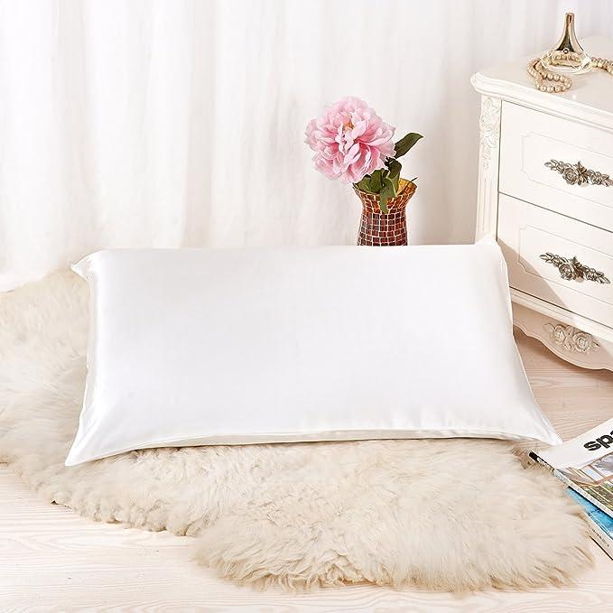 Alaska Bear   Natural Silk Pillowcase, Hypoallergenic, 19 Momme, 600 Thread Count 100 Percent Mulberry Silk, Queen Size With Hidden Zipper (1, Ivory(Natural Undyed White)) by Alaska Bear