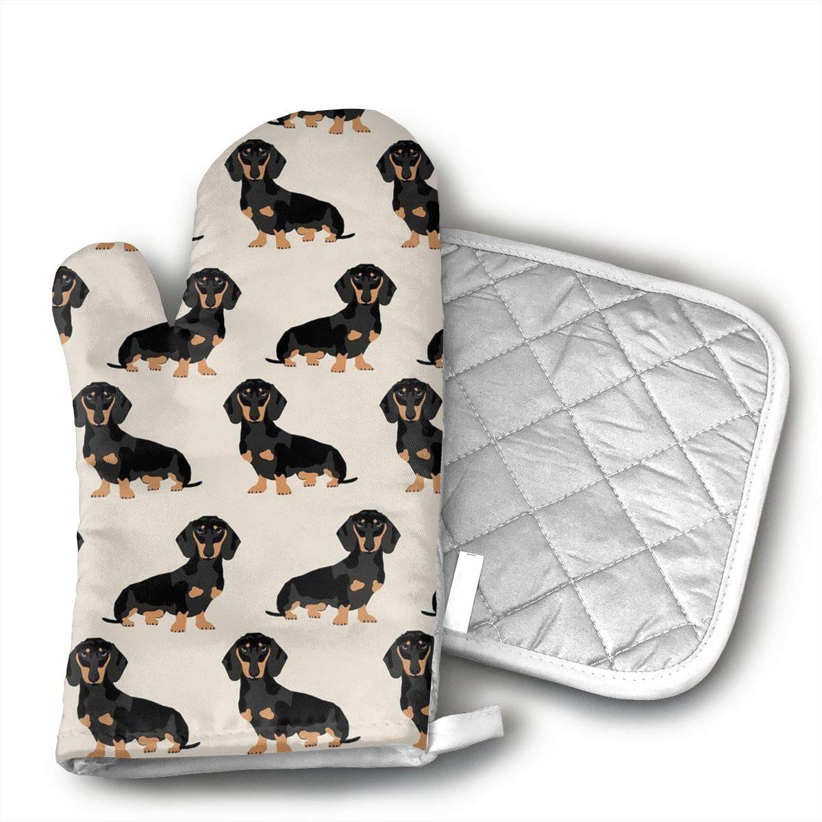 Wiener Dog Fabric Oven Mitt and Pot Holder Set(1Hot Pads and 1 Potholders) for Kitchen Cooking Baking Grilling Heat Resistant