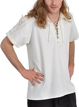 Camisa medieval de manga corta de hombre con cordones algodón color natural - XXL: Amazon.es: Deportes y aire libre
