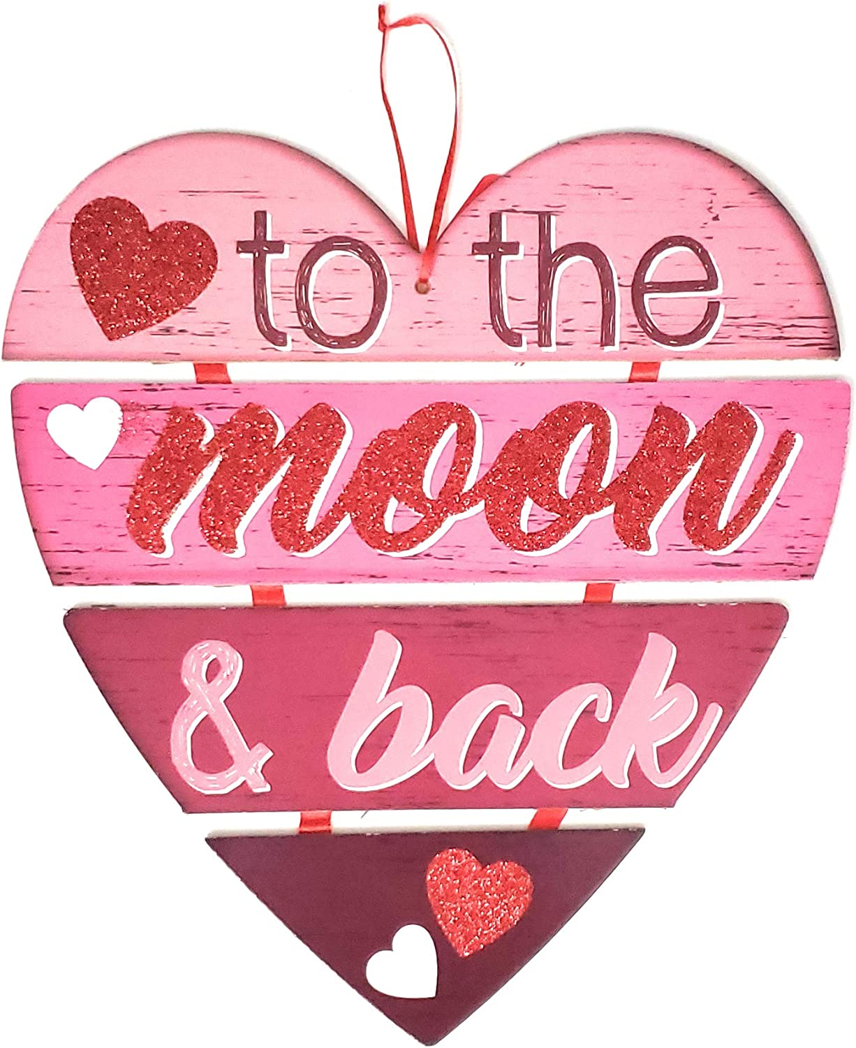 Decor Happy Valentine's DayWall Plaques Home Decoration Decorations Valentine Message Hanging Hearts Wall to The Moon & Back Sign