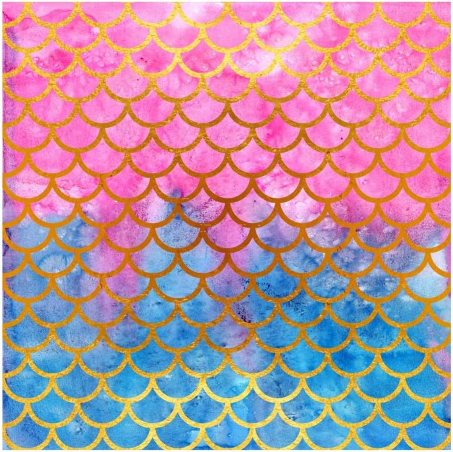 Yeele 9x9ft Mermaid Fish Scale Photography Background Cartoon Golden Purple and Blue Fish Scale Photo Backdrop Studio Props Video Drape