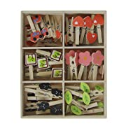DIY Wall Photo Display 48pcs Wood Cute Picture Clips W/ 50M Picture Hanging Wire Twine,Indoor Outdoor Decor - Perfect for Hanging Pictures, Notes,Prints and Artwork on Birthday/Christmas/Party