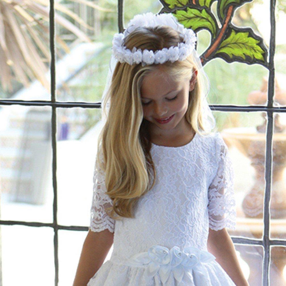 Angels Garment Girls White Floral Wreath Satin Cord Communion Flower Girl Veil