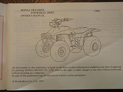 Honda TRX200SX TRX200 SX TRX 200SX FOURTRAX Nos ...