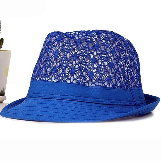 8458867b8d0e3 Spring Summer Men Women Hat Unisex Wide Brim Hat Neon Colors Derby Jazz Hat  Breathable Hollow Beach Sun Hat at Amazon Women s Clothing store