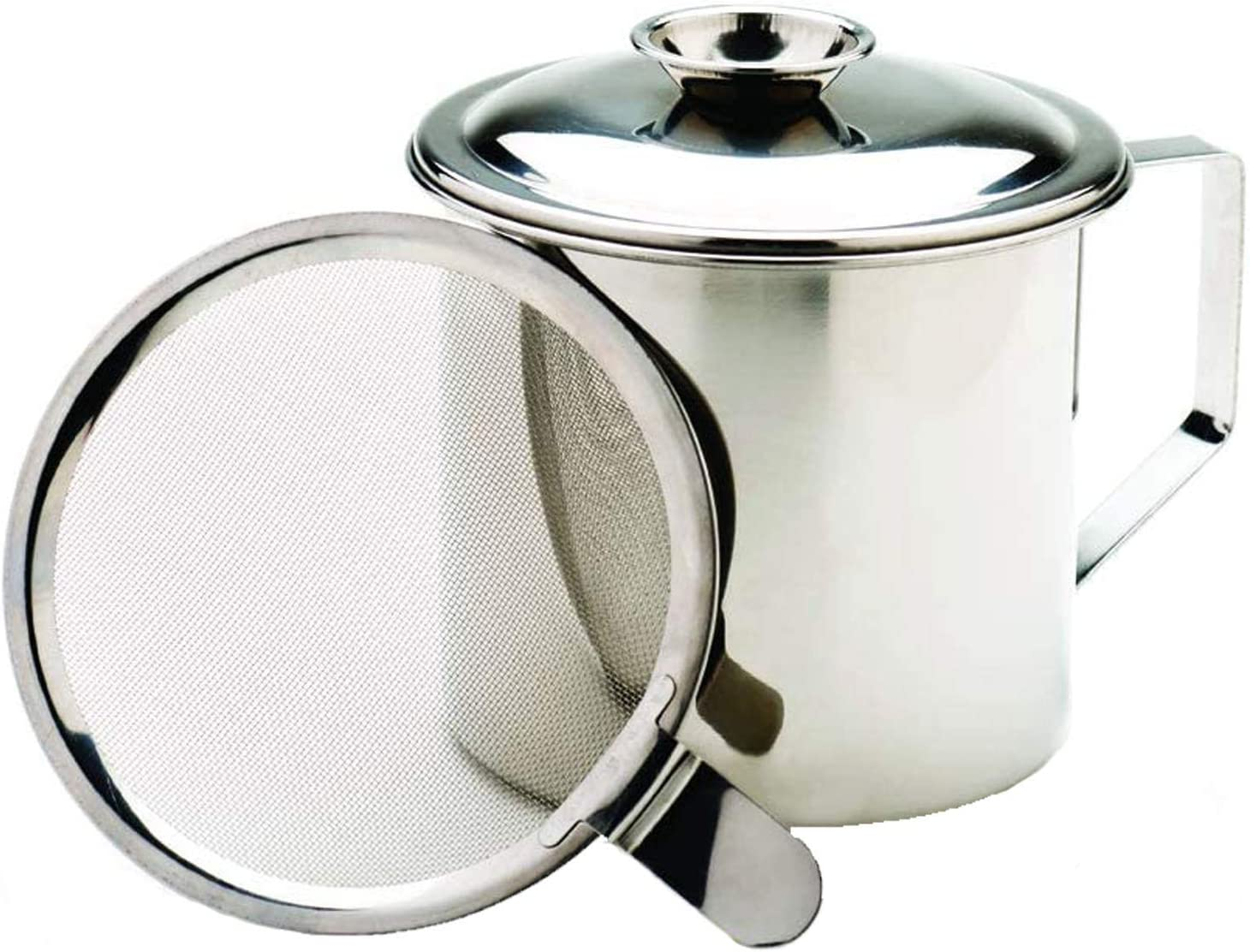MEKBOK Cooking Oil and Bacon Grease Catcher, Container, and Keeper. Perfect As A Pan Grease Holder, 1.25 (5 Cups) Qt Stainless Steel Mesh Strainer Screen