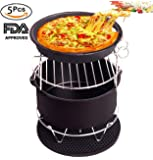 5 PCS Air Fryer Accessories Kit Set Universal Airfryer Accessories For Phillips Gowise Cozyna And More Brands(3.0 QT Up),Including Cake Barrel, Pizza Pan, Metal Holder, Skewer Rack And Silicone Mat