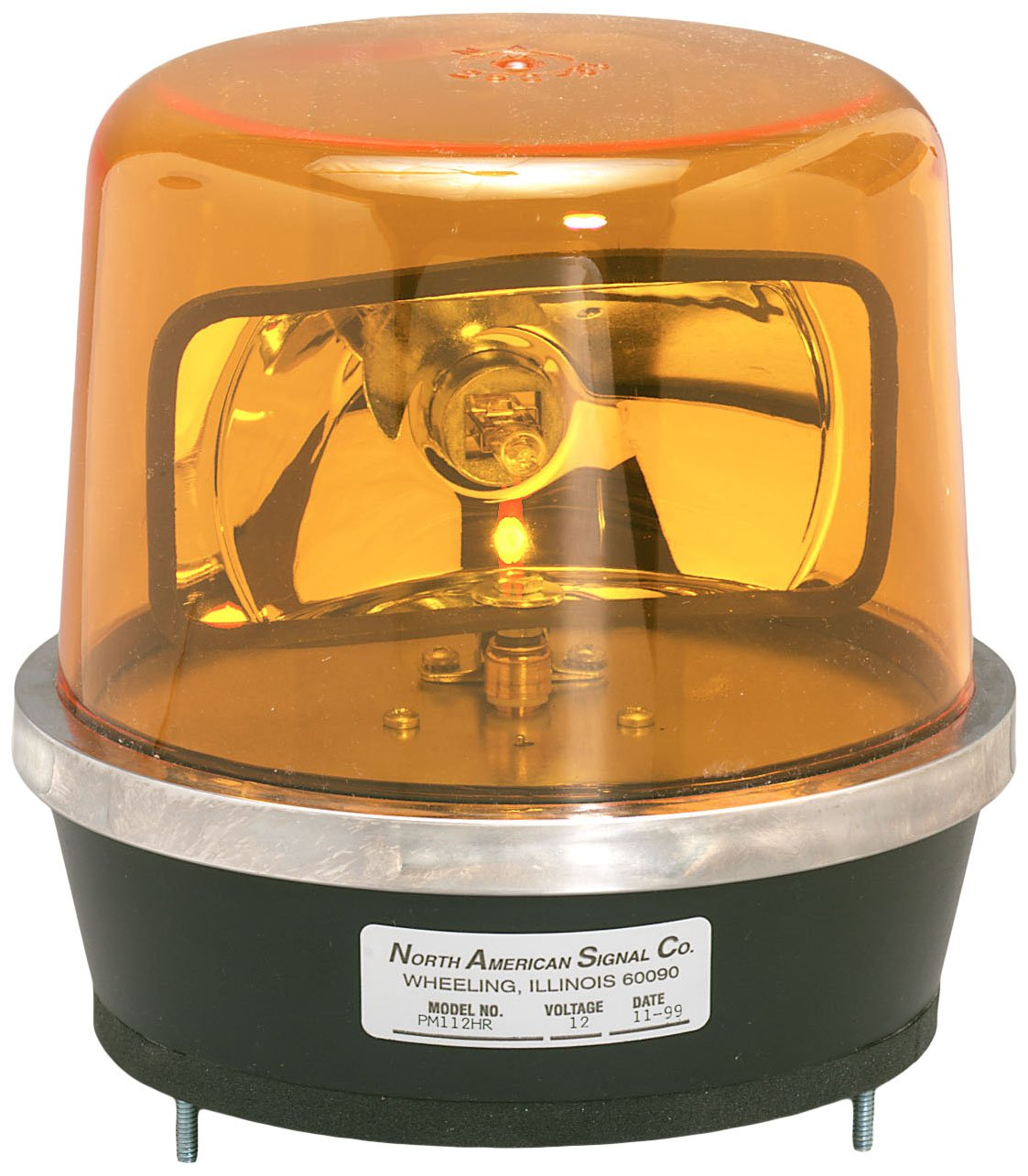 North American Signal 112HR-A Halogen Rotating Beacon, Permanent Mount, Amber