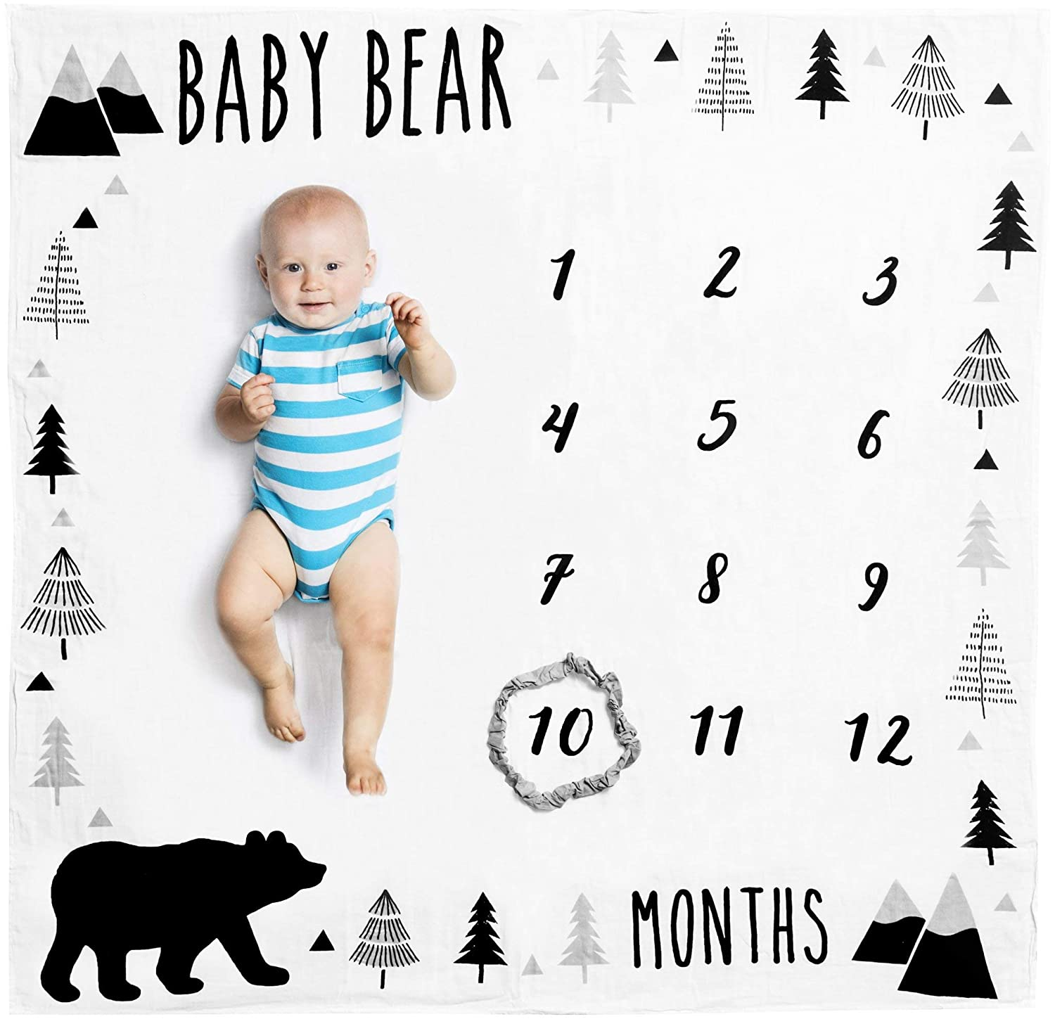 Organic Baby Monthly Milestone Blanket (Baby Bear) with Month Frame Prop for Newborn Boy | 1 to 12 Months | Soft Photography Background | Baby Shower Gift