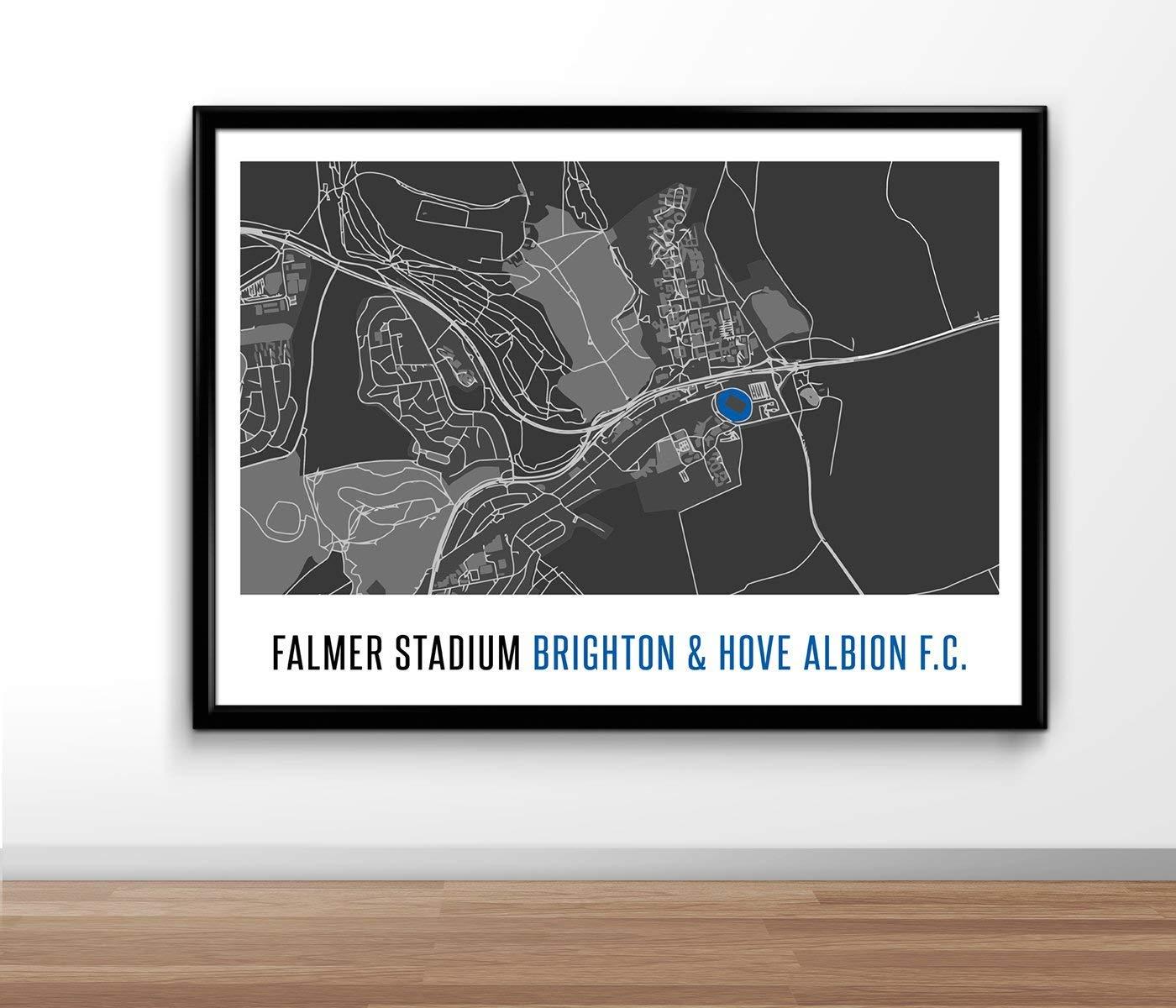 Football Poster gift Football Print Brighton Hove Football Poster Map Print Present A4 UNFRAMED