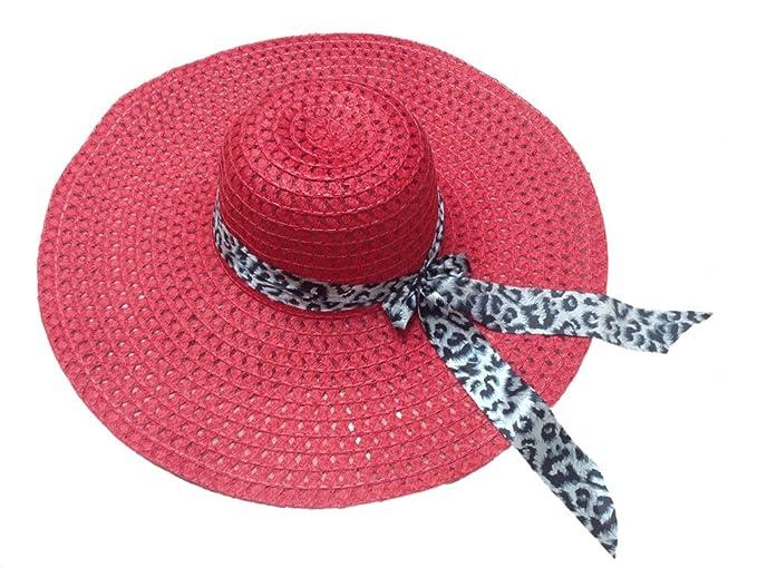 Jtc Ladies Wide Brim Beach Wear Straw Hats Leopard Ribbon Red at ... 4d71635d86b