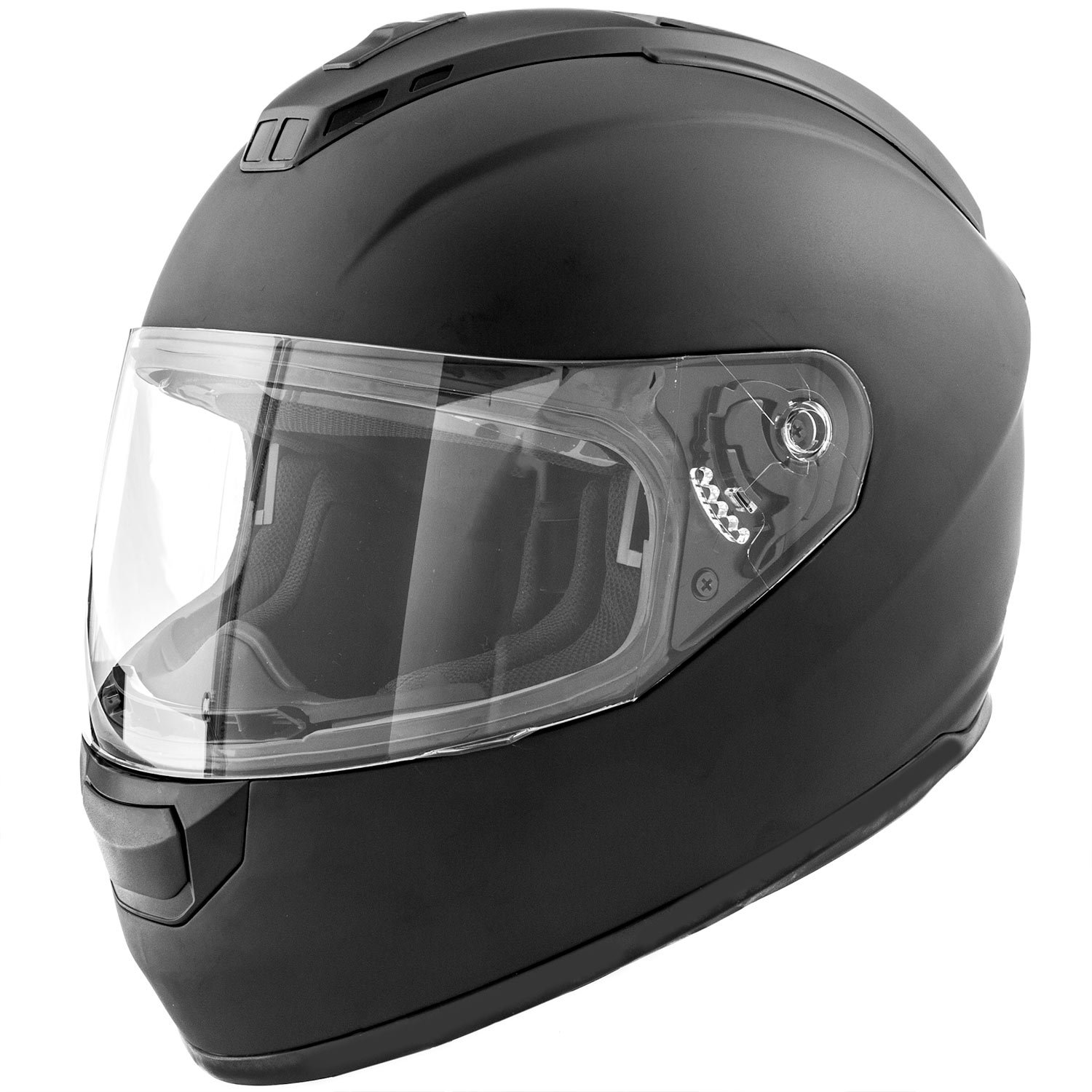 Amazon.es: Dot motocicleta casco Full Face Koi mate negro w/visera - Adulto pequeño