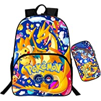 Sac à Dos Scolaire avec Trousse, Cartable Pokemon Sac à Dos Pokeball Pikachu Cartable Collège Ado Fille Garcon Sac à Dos D'ecole Loisir Sets de Sacs Scolaires Sac à Dos Unisexe Enfants