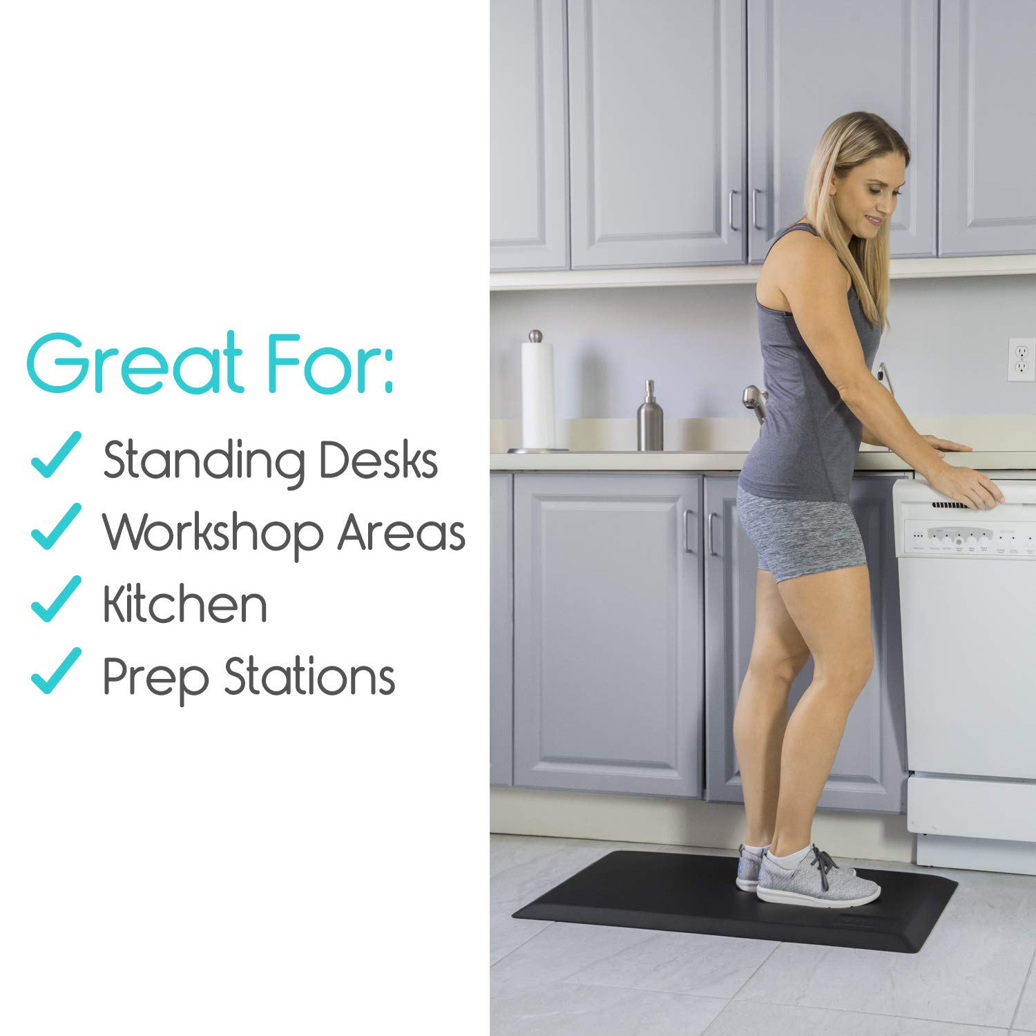 Vive Anti Fatigue Mat - Support For Standing Desk Office & Home Kitchen Workstation - Ergonomic Comfort Thick Waterproof Pad - Non Slip Bottom & Bevelled Edge - Cushion 17.5'' x 32'' - Adults & Elderly by Vive (Image #7)