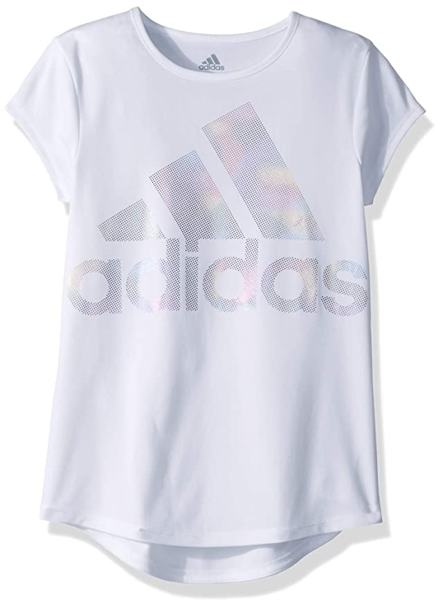 adidas Girls' Big Short Sleeve Graphic Tee T-Shirt, White Rainbow Foil, L