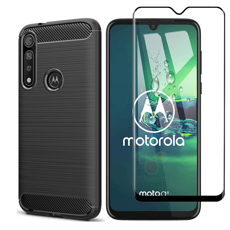 Funda + Vidrio Templado Motorola G8 Plus, Negro