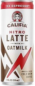 Califia Farms - Nitro Cold Brew Coffee, Oat Milk Latte - XX Espresso - 7 Oz (12 Cans)   Shelf Stable   Iced Coffee On-the-Go   Clean Energy   Dairy Free   Gluten Free   Plant Based   Non-GMO