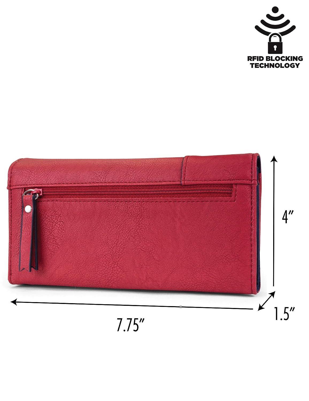 Nautica Money Manager RFID Womens Wallet Clutch Organizer (Fuego Red (Buff))
