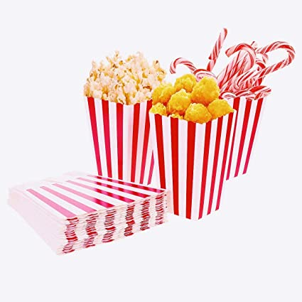 50pcs popcorn boxes bags cardboard candy container for christmas party snacks sweets popcorn and