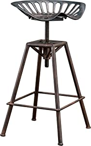 Christopher Knight Home 235249 Deal Furniture Charlie Industrial Metal Design Tractor Seat Bar Stool, Brown