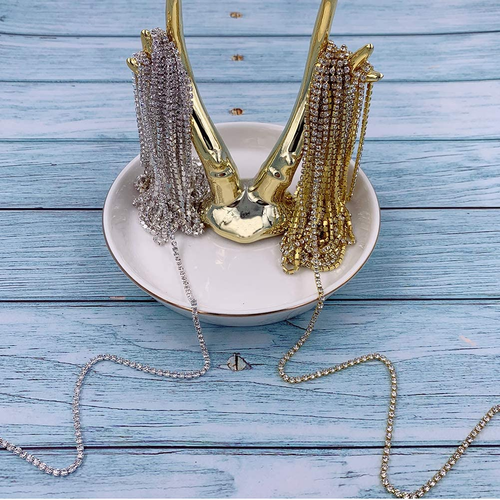 2.5 mm Rhinestone Close Chain,10 Yards Rhinestone Chains Rhinestone Trim Silver Chain Gold Chain Trimming Claw Chain for Sewing Craft Decoration