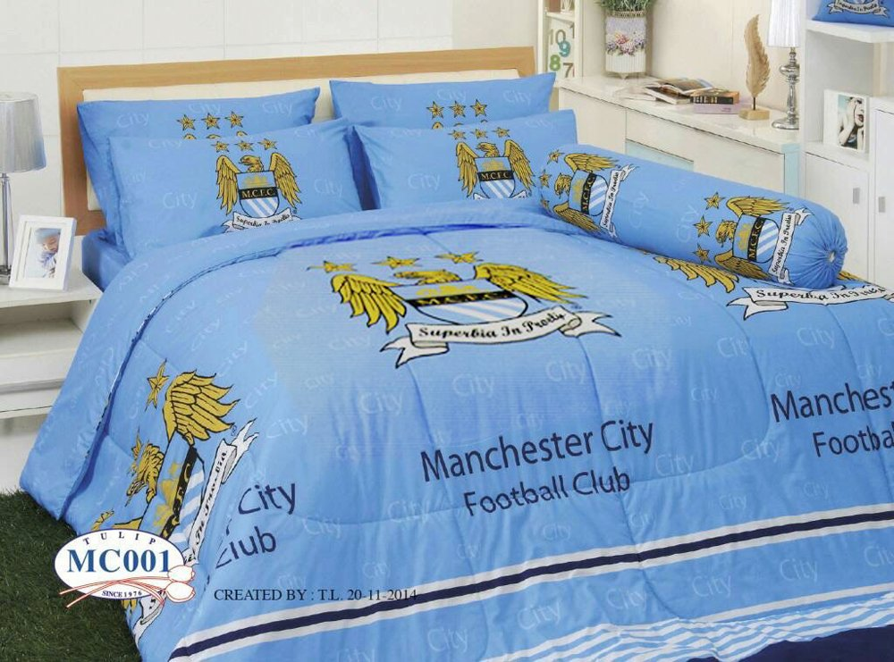 Manchester City Football Club Official Licensed Bedding Set, Bed Sheet, Pillow Case, Bolster Case, Comforter, Gift Guide, Gift Ideas MC1 (Set B+1, Queen Size)