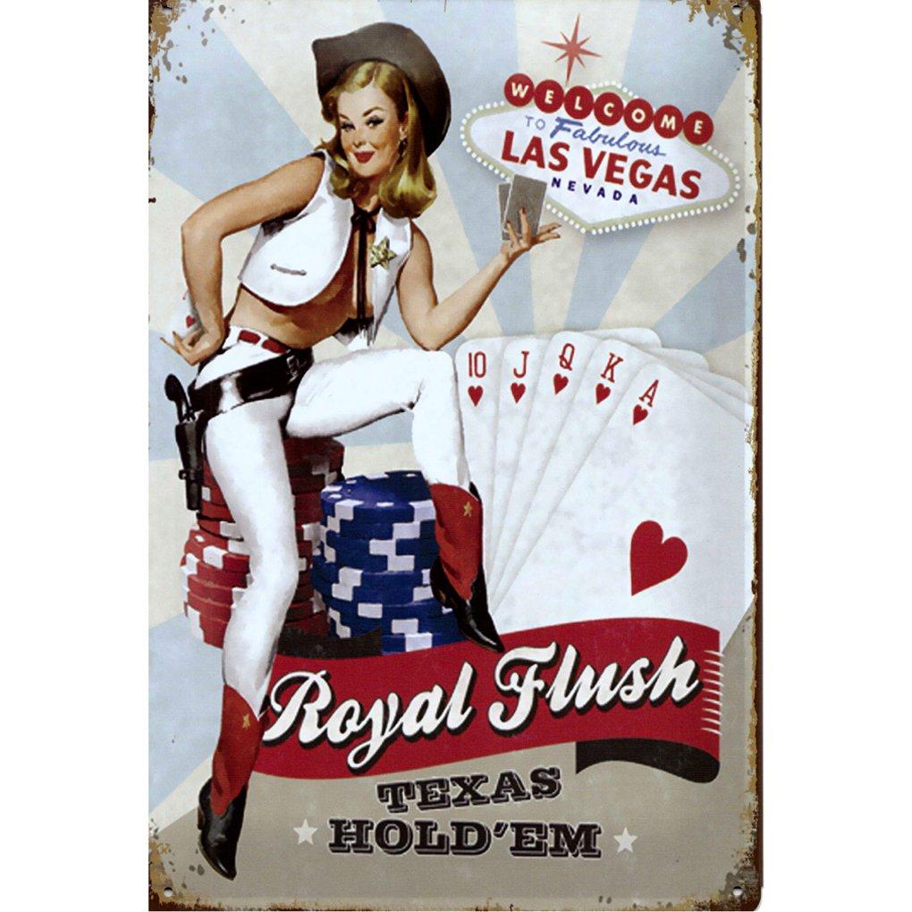 A.G.S. Retro Cartel de Chapa Las Vegas Royal Flush Pin Up ...