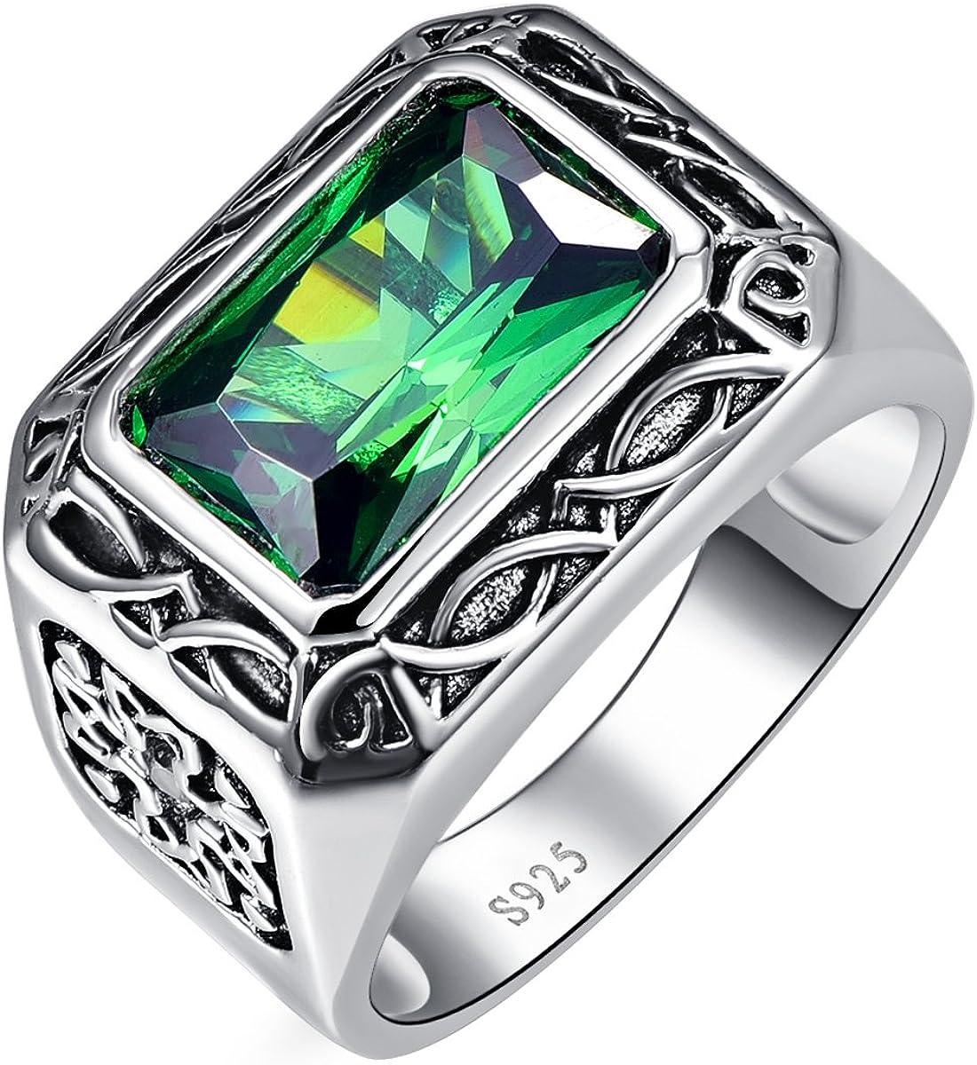 bonlavie hombre 6.85 ct 8 * 12 mm corte esmeralda verde esmeralda anillo de plata de ley 925