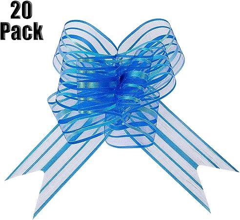 lovingmona Lazos 50mm 20 Packs Grande Organza Rasgado Lazo para Regalo de Envolver Coche Boda Decoración Navidad Flor - Azul: Amazon.es: Hogar