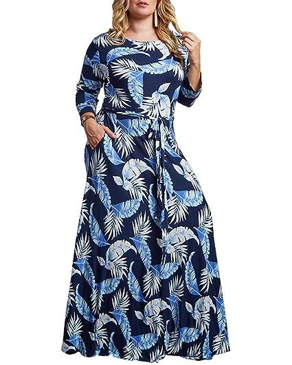 Women\'s Plus Size Casual Maxi Dresses Printed Feather Leaf Soft Vintage  Party Elegant