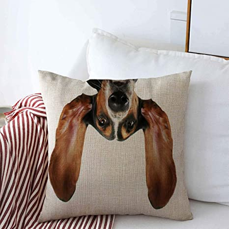 Amazon Com Starotor Throw Pillow Covers 18 X 18 Upside Dog Basset Hound His Ears Flying Away Humor Funny Down Pet Puppy Design Licking Cushion Case Cotton Linen For Winter Home Decoration Home