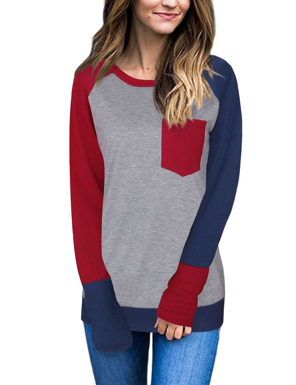 Naier Women T Shirt Top Long Sleeve Color Splicing For Leggings Jeans (S, Wine Red)