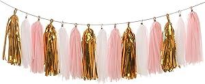 LEWOTE Tissue Paper Tassel Garland - 20pcs Tassels Per Package - 12 Inch Long Tassels(Gold/Pink/White)