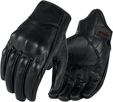 Short Protective Soft Leather Quality Motorbike Motorcycle Scotter Gloves Biker