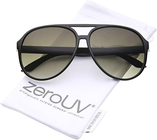 7bf5e4e7b Retro Large Teardrop Shaped Lens Aviator Sunglasses 60mm (Black/Smoke  Gradient)