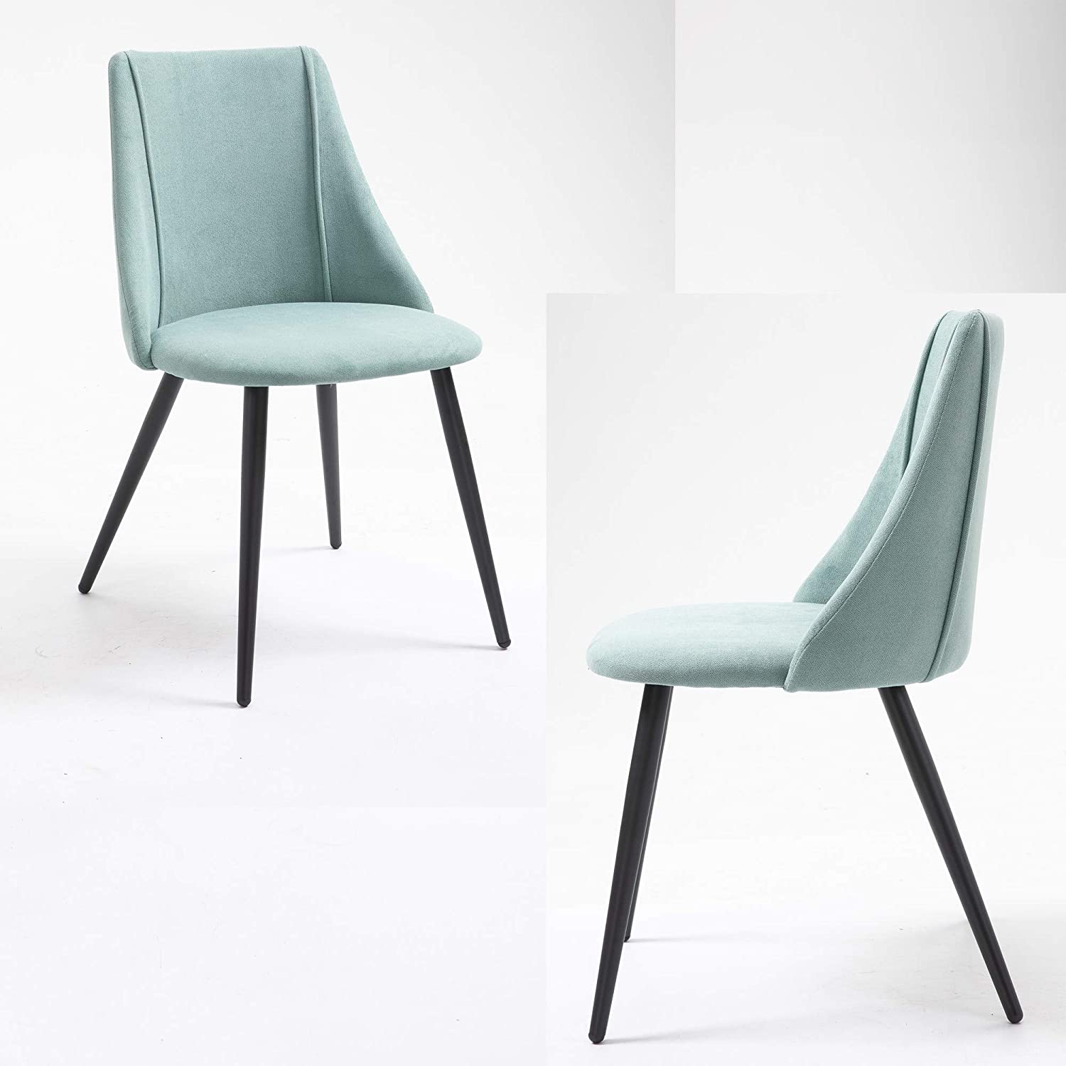 Kitchen Chairs Home Office Chair Set of 2 Modern Sturdy Dining Room Chairs with Fabric Cushion Seat Back, Mid Century Living Room Chairs with Black Metal Legs, Green